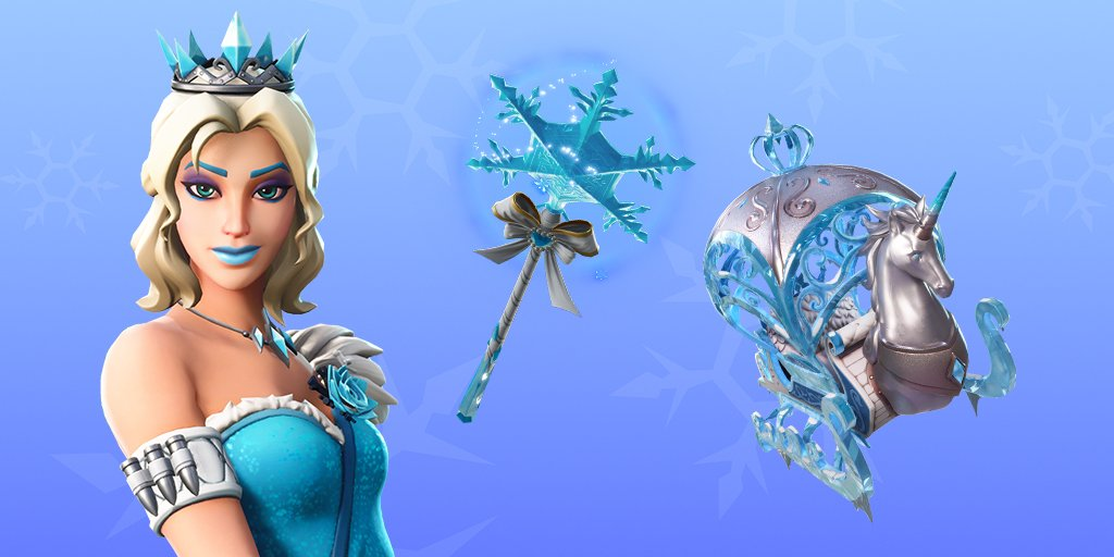 Fortnite Glimmer Skin and Crystal Carriage Glider