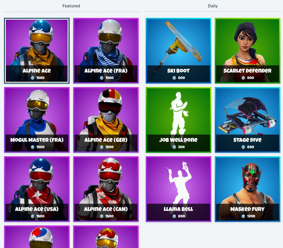 Fortnite Item Shop 18th December