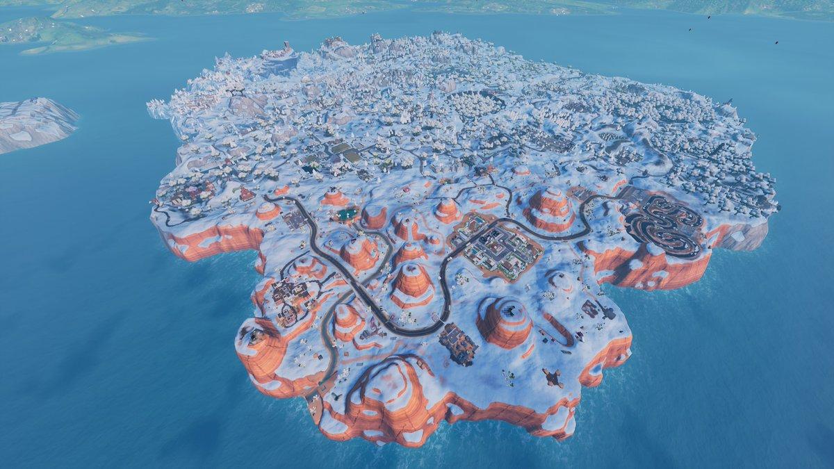 El mapa por completo está cubierto de nieve