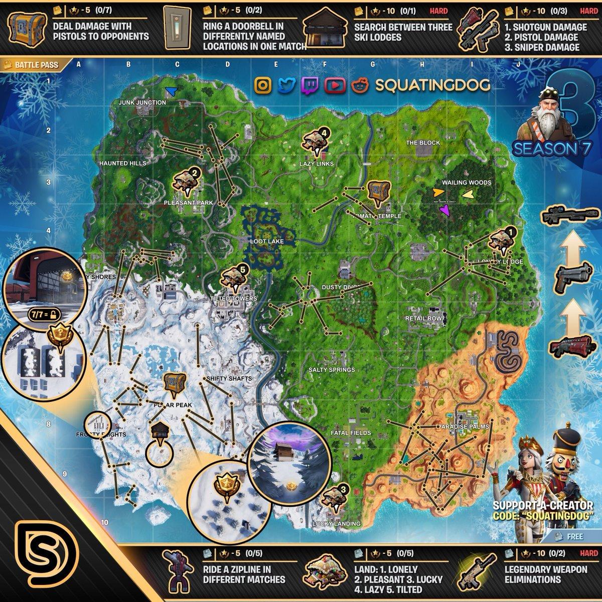Fortnite Cheat Sheet Map For Season 7 Week 3 Challenges Fortnite