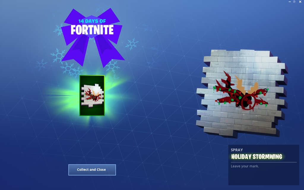 Holiday Stormwing Spray 14 Days of Fortnite Day 10 Reward