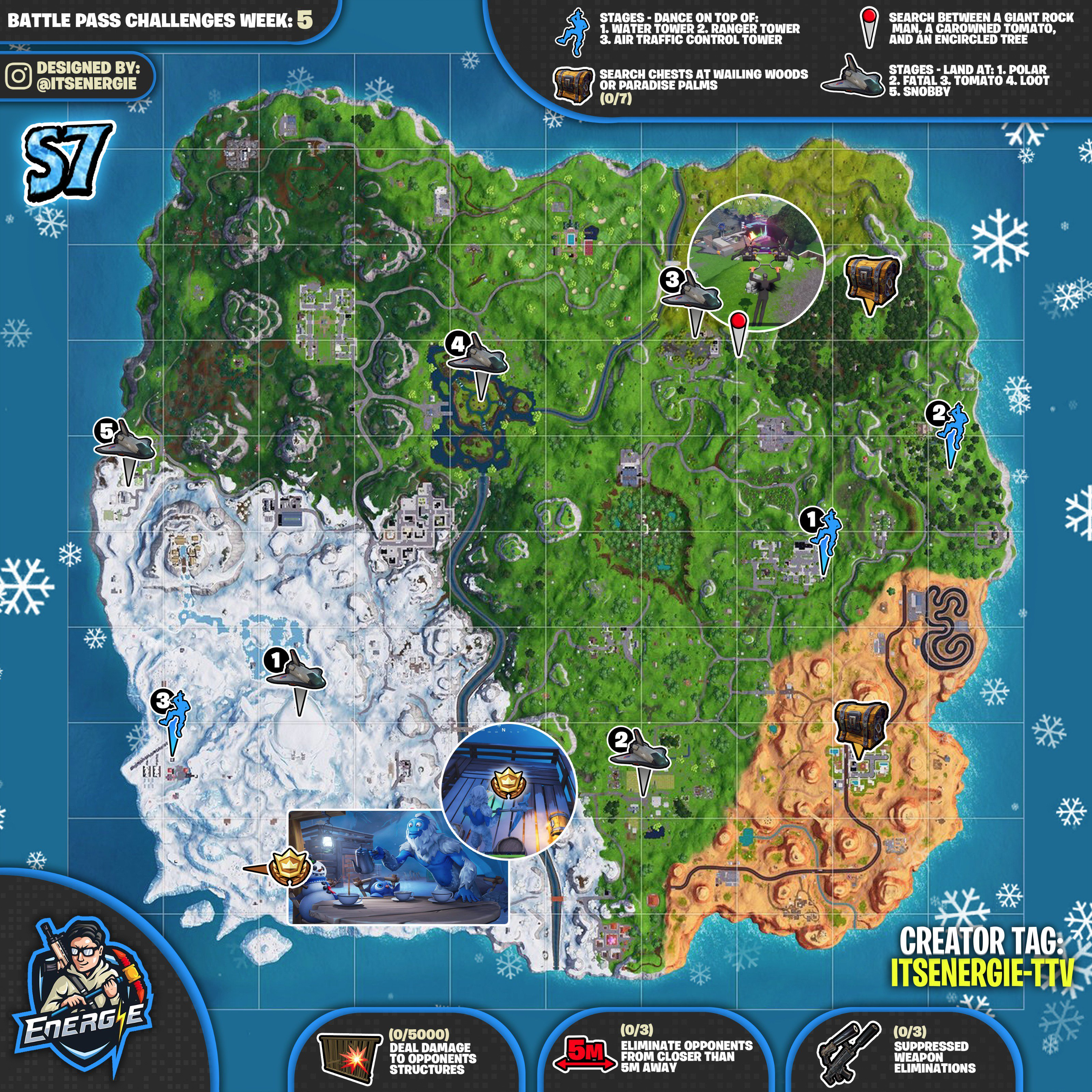 Fortnite Cheat Sheet Map for Season 7, Week 5 Challenges Locations