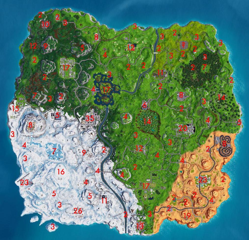 Fortnite Chests Number Map