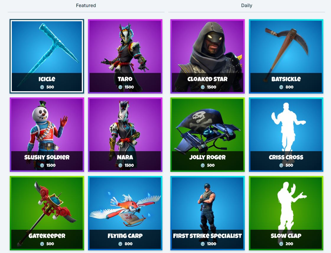 Fortnite Item Shop 9th January