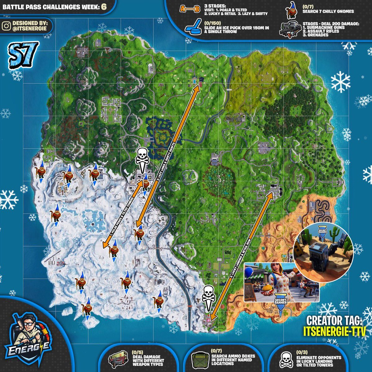 Fortnite Season 7, Week 6 Challenges Cheat Sheet Map