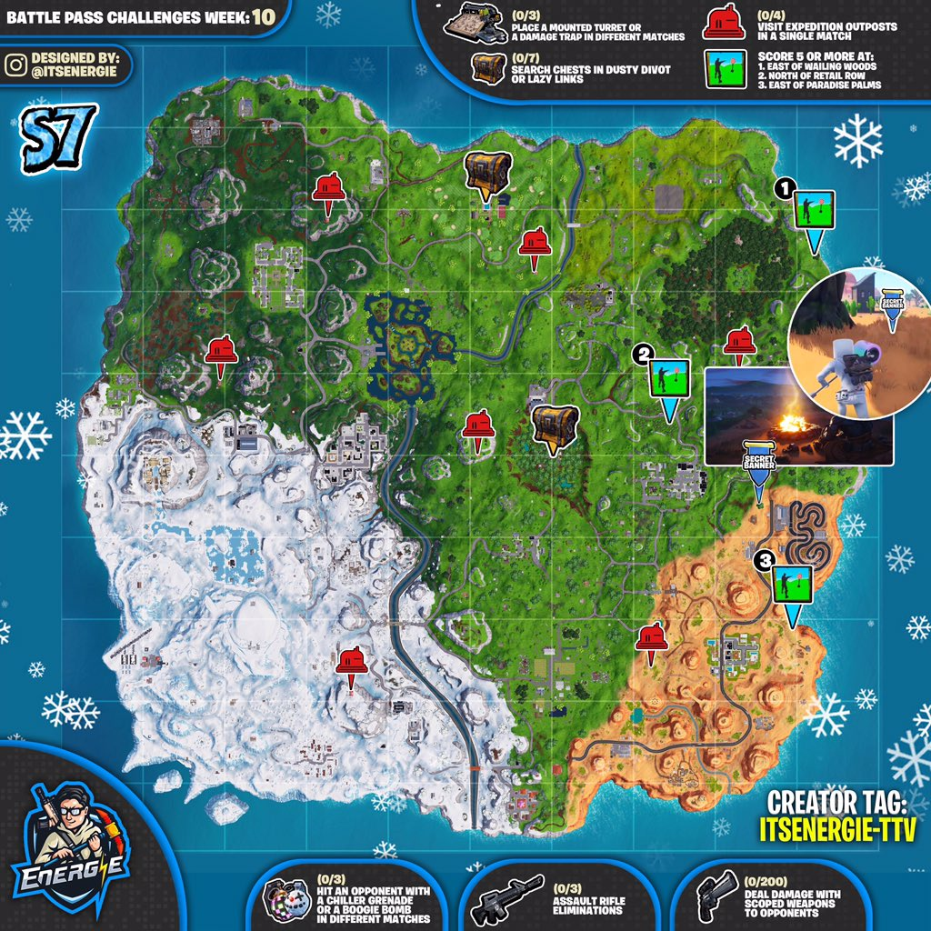 Fortnite Cheat Sheet Map for Season 7, Week 10