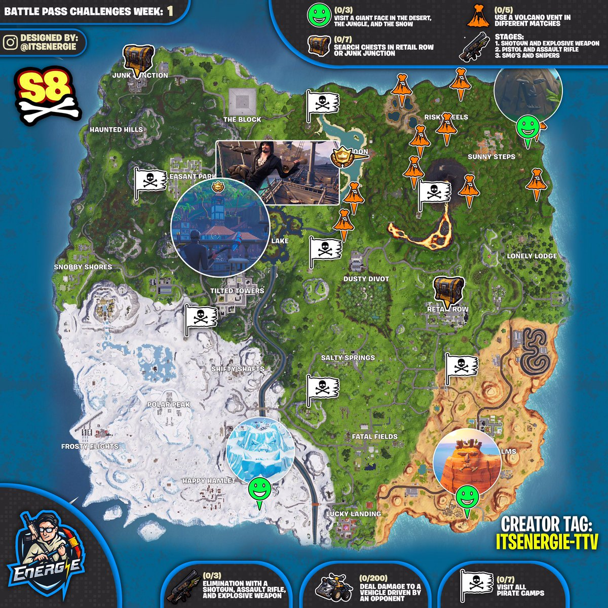 Season 8, Week 1 Fortnite Cheat Sheet Map