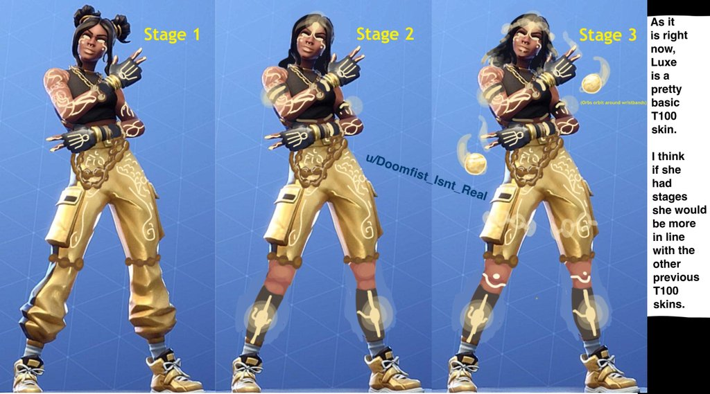 Fortnite Season 8 Tier 100 Luxe Different Stages Concept