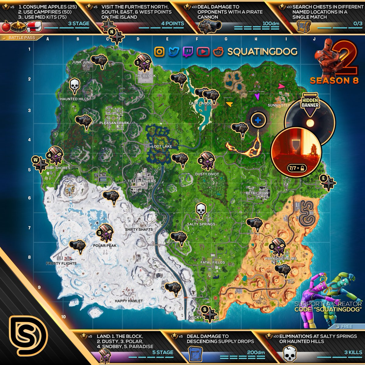 picture relating to Printable Fortnite Map named Fortnite Cheat Sheet Map For Time 8, 7 days 2 Troubles