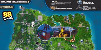 Fortnite Season 8, Week 4 Challenges Cheat Sheet Map
