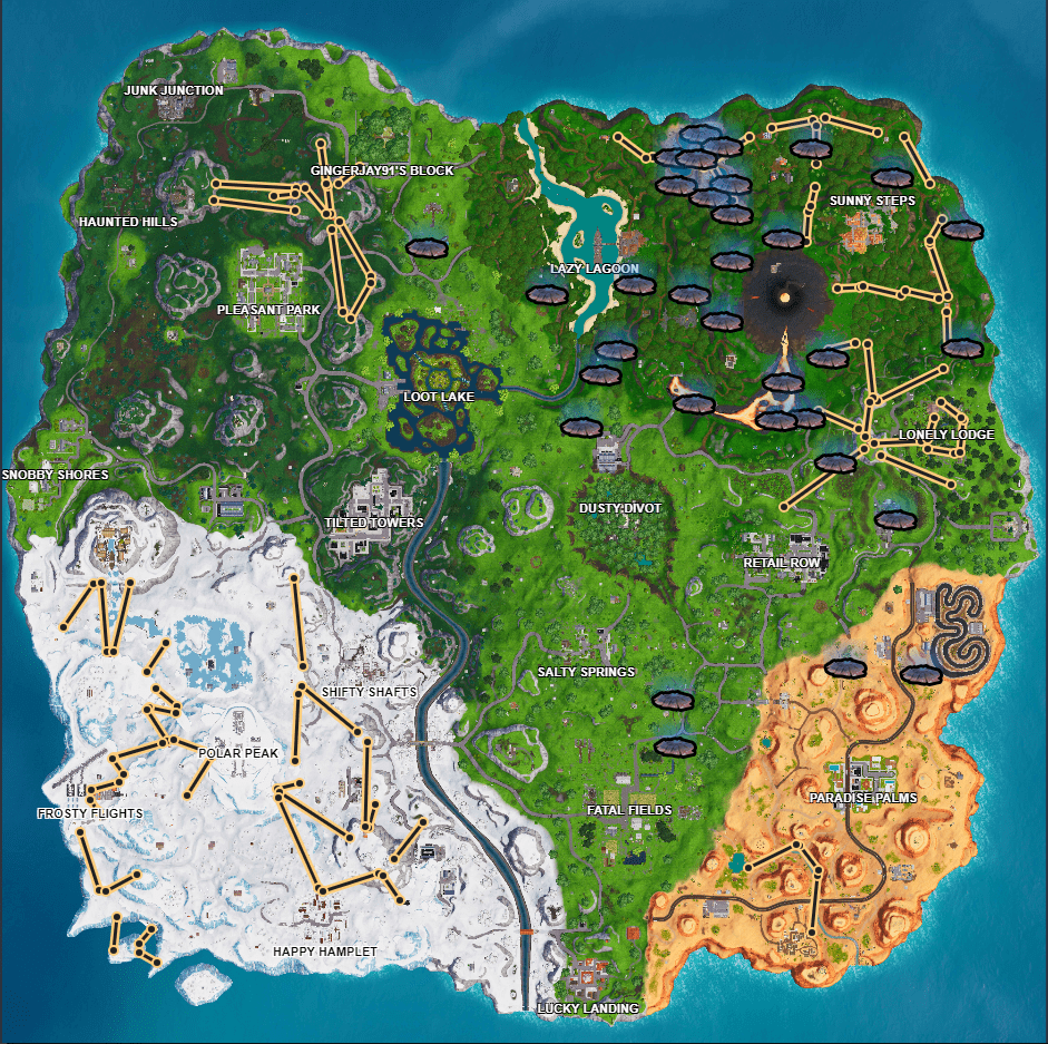 Location Map for Volcano Vents and ziplines