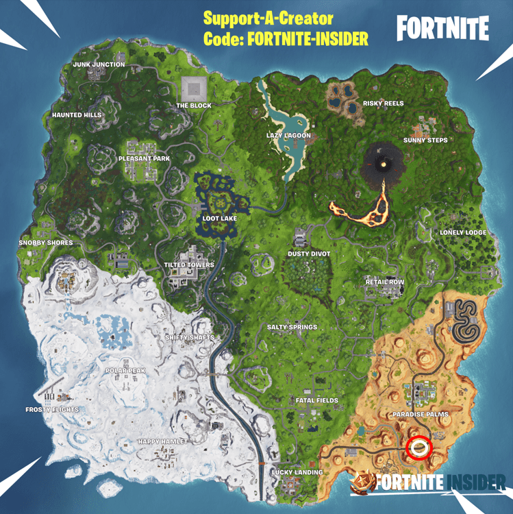 Dance Between Three Dinosaurs Fortnite Challenge Location Map