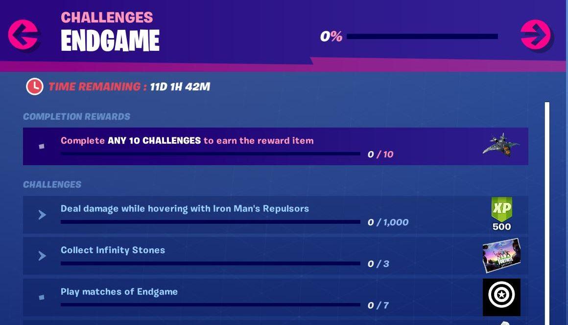 Fortnite Avengers Endgame Challenges Day 1