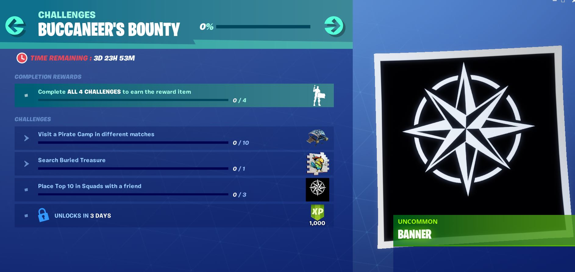 Fortnite Buccaneers Bounty Challenge and Reward - Day 3