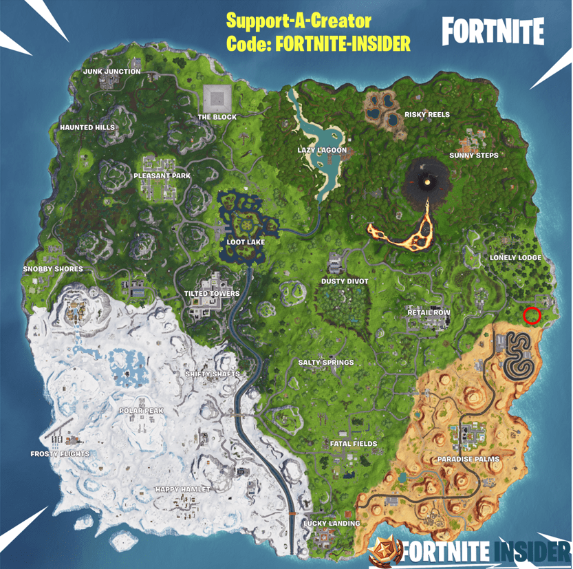 Fortnite Season 8, Week 6 Treasure Map Loading Screen Location