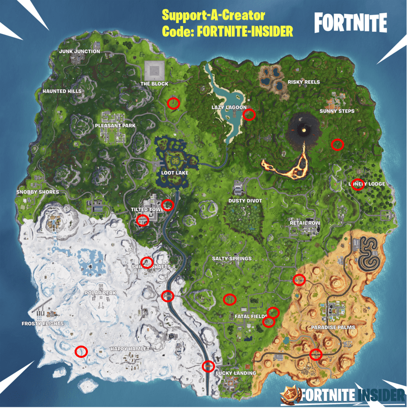 Fortnite Season 8, Week 8 Challenge Search Jigsaw Puzzle Pieces under Bridges and in Caves Locations