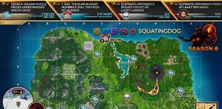 Fortnite Season 8, Week 8 Challenges Cheat Sheet Map