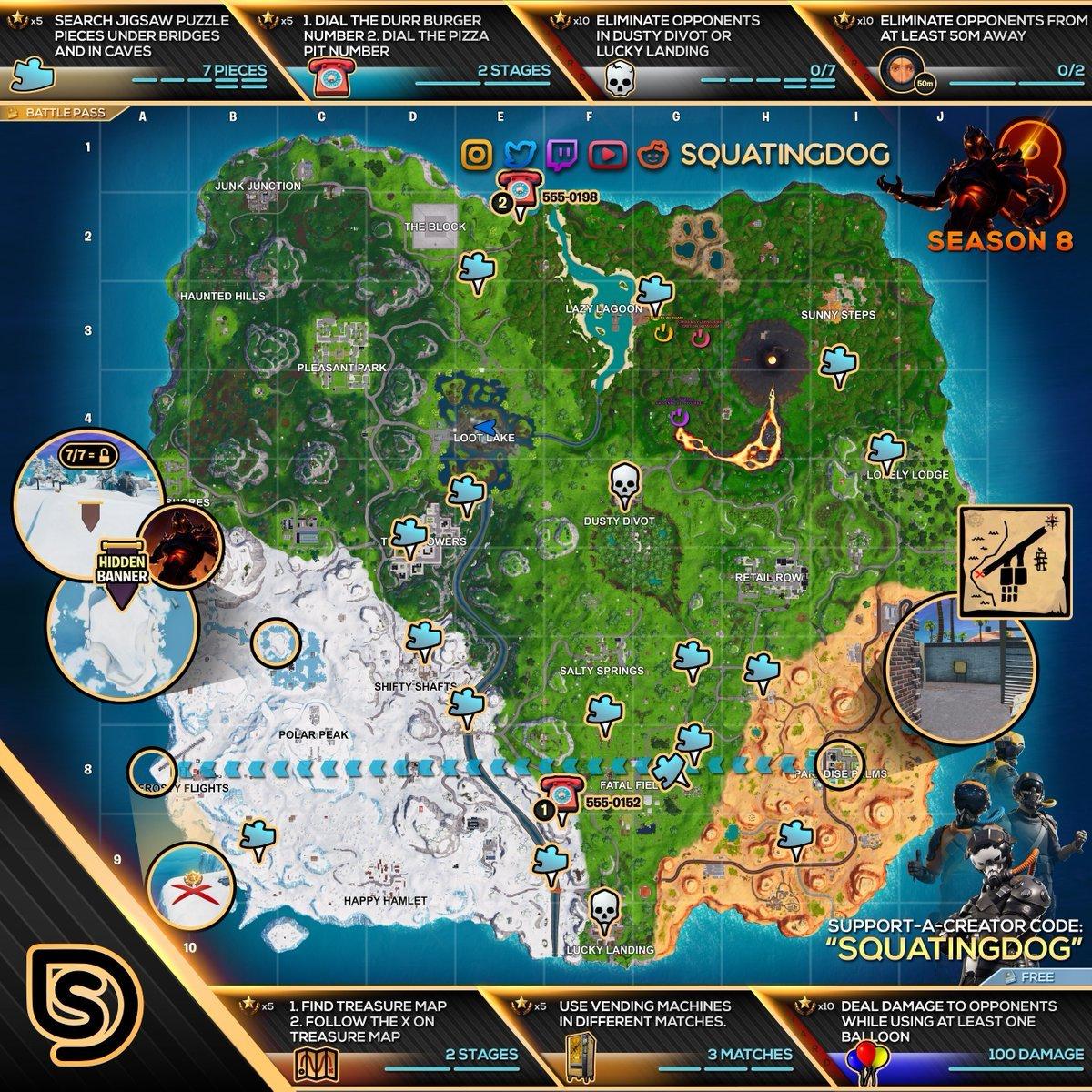 fortnite season 8 week 8 challenges cheat sheet map - teaser temporada 2 fortnite