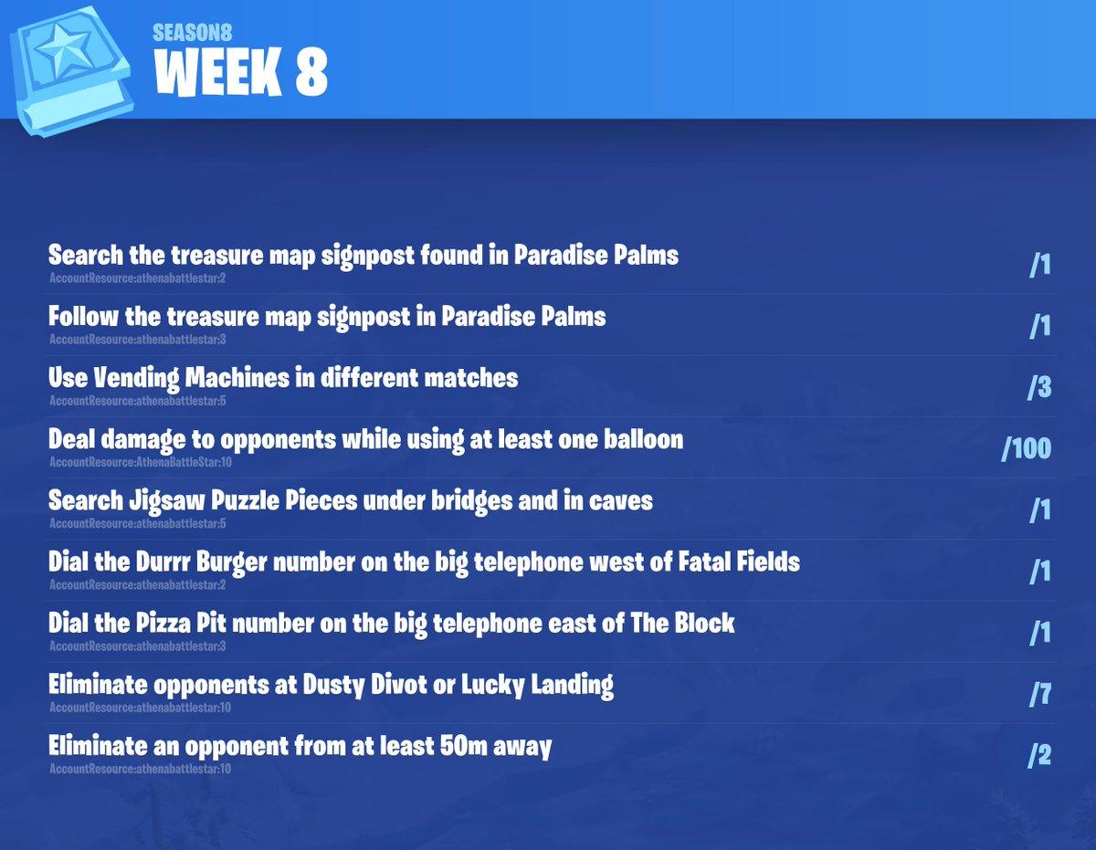 Fortnite Season 8, Week 8 Leaked Challenges