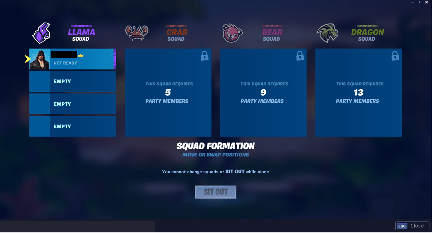 Fortnite Squad Formation Menu