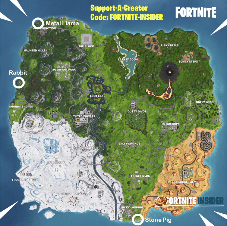 Visit a wooden rabbit, a stone pig and a metal llama Fortnite Challenge Locations Map