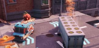 Fortnite Downtown Drop Challenge - Dance or Emote Between Two Food Trucks
