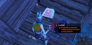 Fortnite Fortbyte #07 Location - Accessible by Using the Cuddle Up Emoticon inside a Rocky Umbrella