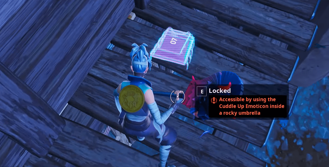 Fortnite Fortbyte # 07 Location - Accessible using the Cuddle-Up Emoticons in a Rocky Umbrella