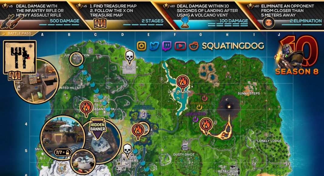 Fortnite Season 8, Week 10 Challenges Cheat Sheet Map