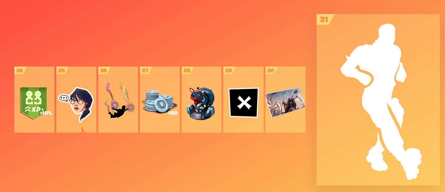 Fortnite Season 9 Battle Pass Rewards - Tier 24-31