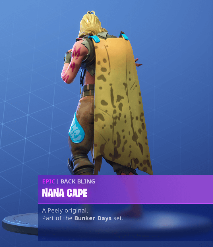 Fortnite Season 9 Bunker Jonesy Skin Challenges - Nane Cape Back Bling Reward