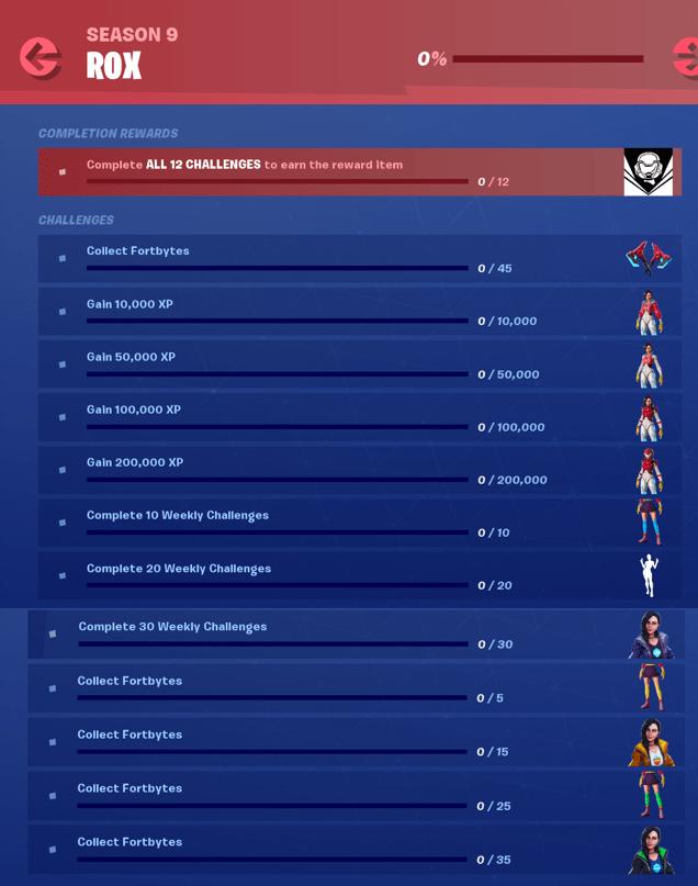 Fortnite Season 9 Tier 1 Skin Rox Challenges