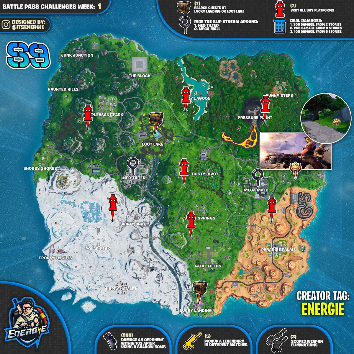 Fortnite Cheat Sheet Map For Season 9, Week 1 Challenges | Fortnite