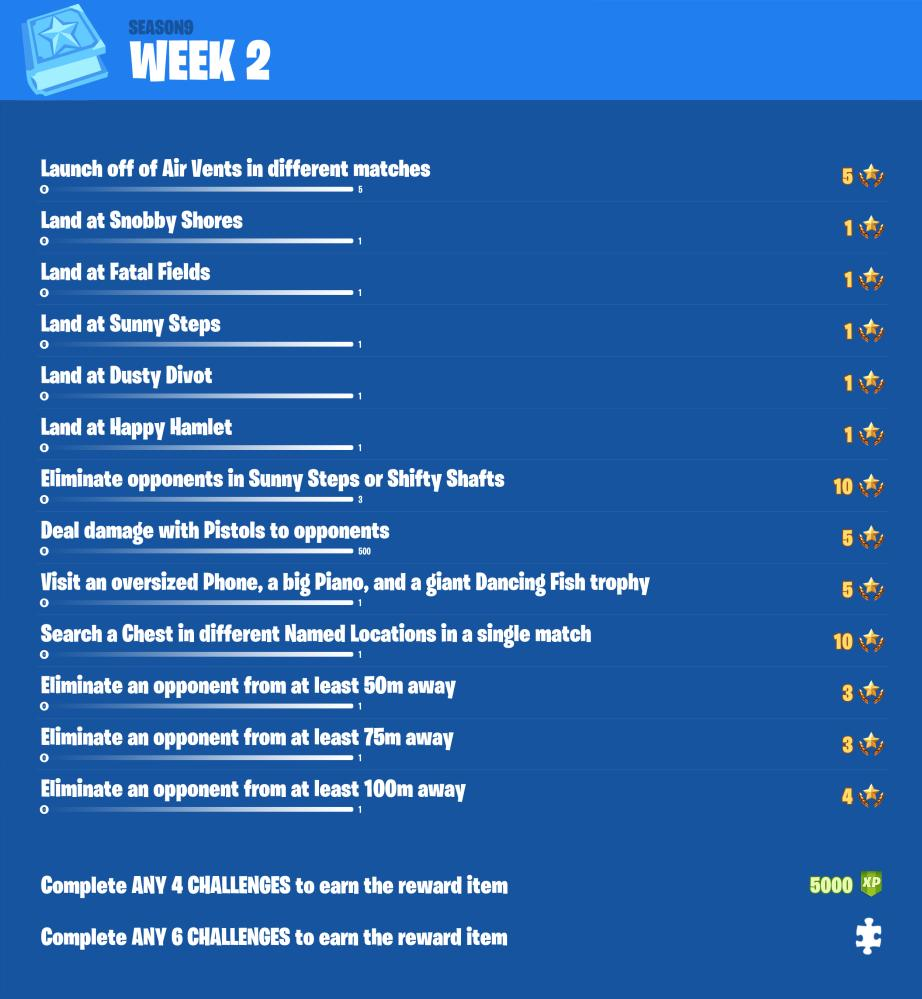 Fortnite Season 9, Week 2 Leaked Challenges - via @FireMonkeyFN