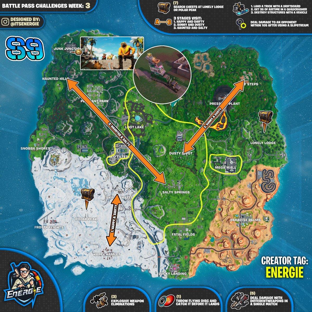 Fortnite Cheat Sheet Map For Season 9, Week 3 Challenges | Fortnite