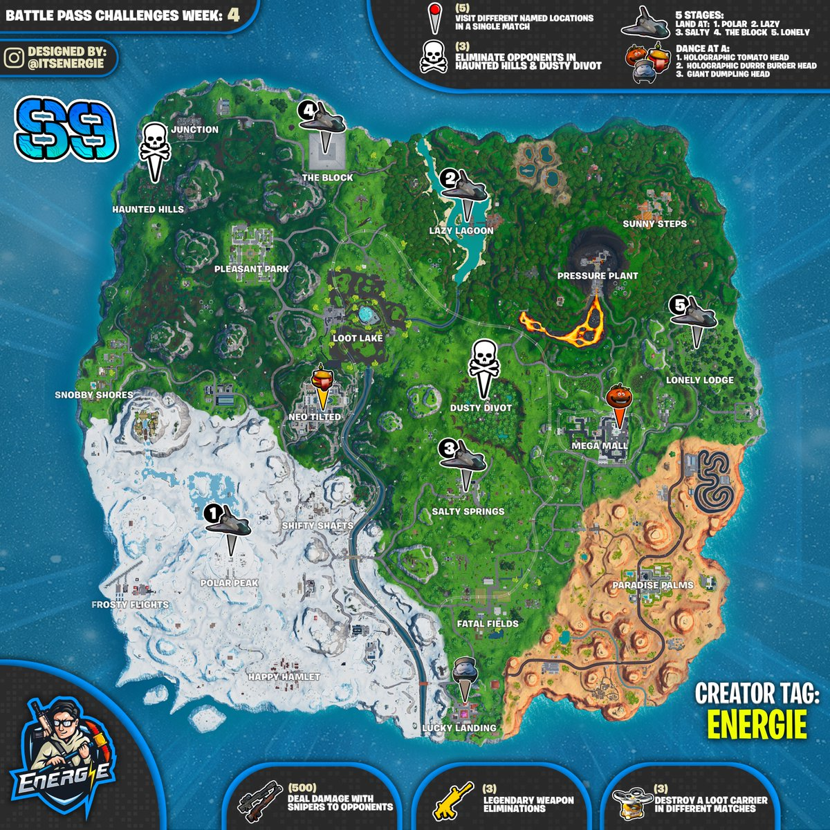 Fortnite Cheat Sheet Map For Season 9 Week 4 Challenges Fortnite Insider