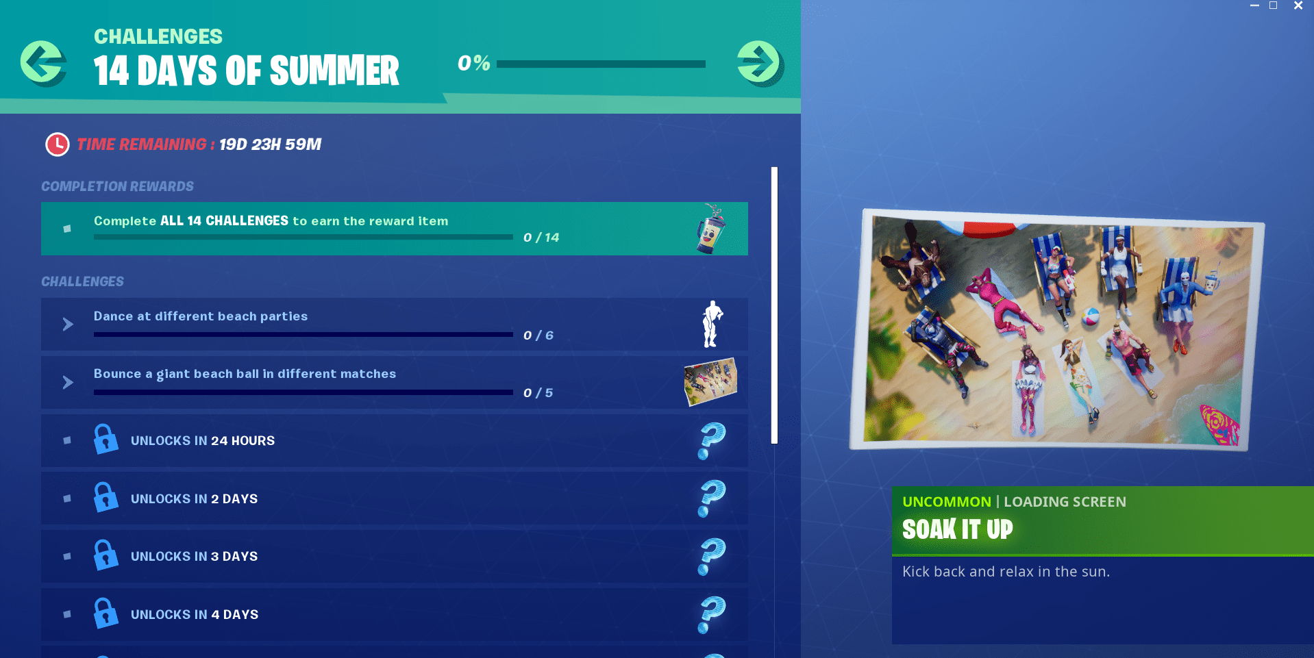 14 days of summer fortnite challenges
