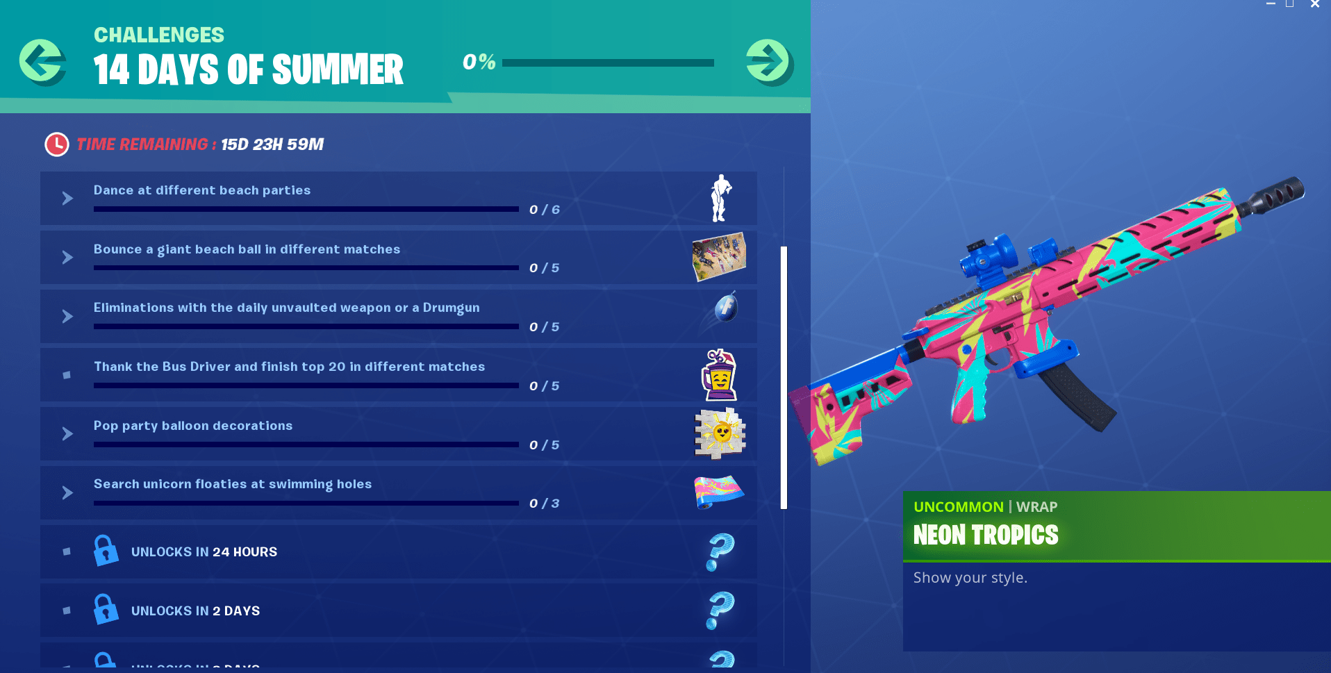 14 Days of Summer Fortnite Event - Day 6 Challenge and Reward