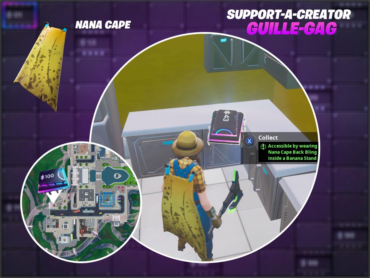 Fortbyte #43 - Accessible by wearing the Nana Cape Back Bling inside a Banana Stand