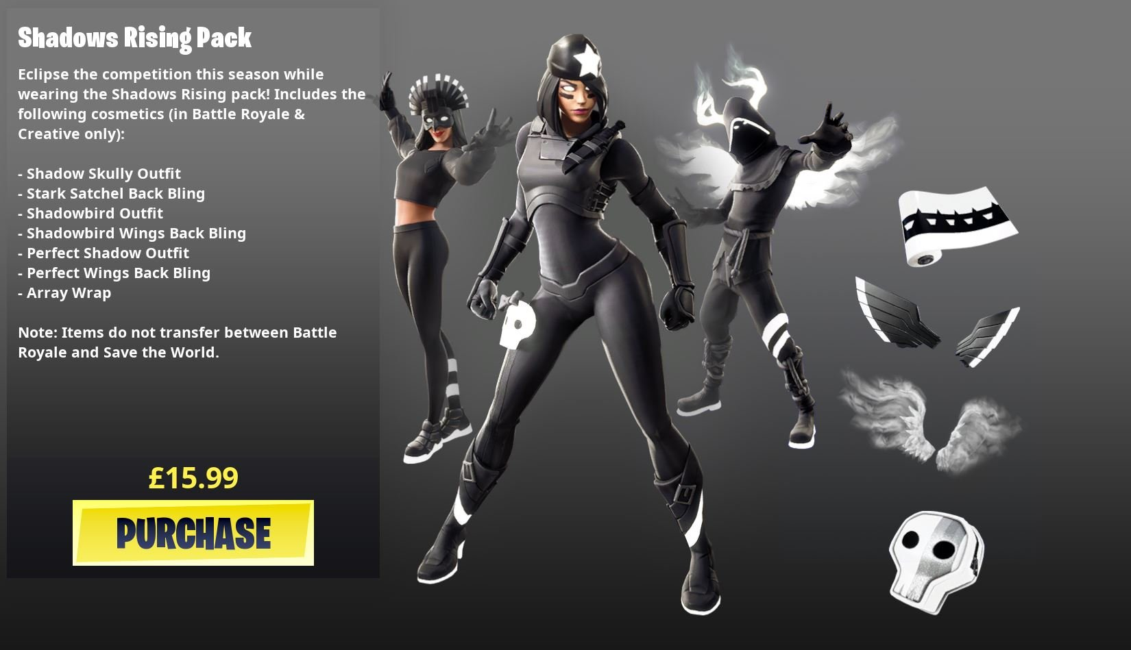 Fortnite Shadows Rising Skin Store Pack Available Worldwide
