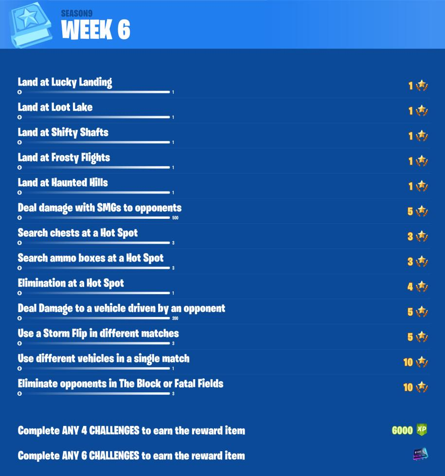 Leaked Fortnite Challenges Week 6 - via @FireMonkeyFN