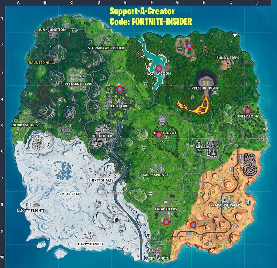 Search unicorn floaties at swimming holes all Fortnite locations
