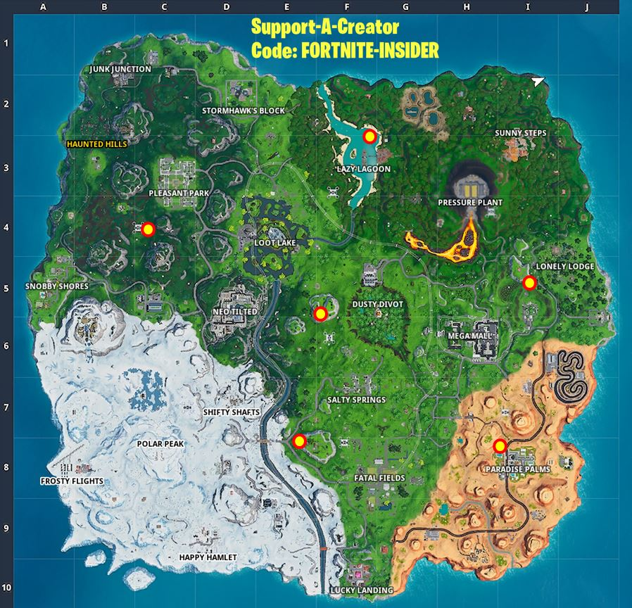 All Giant beach umbrella locations Fortnite Map
