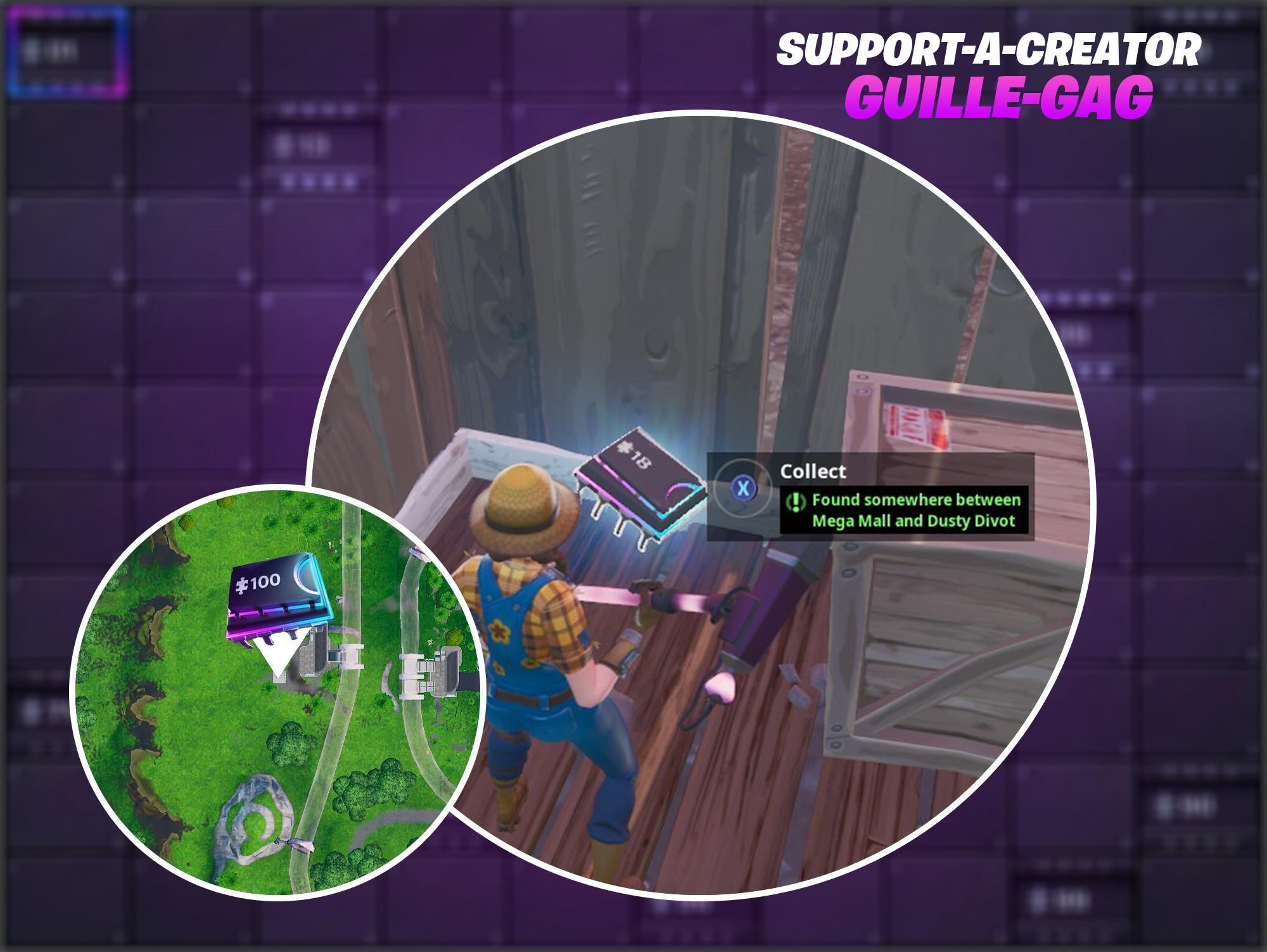 Fortnite Fortbyte #18 Location - Found Somewhere Between Mega Mall and Dusty Divot