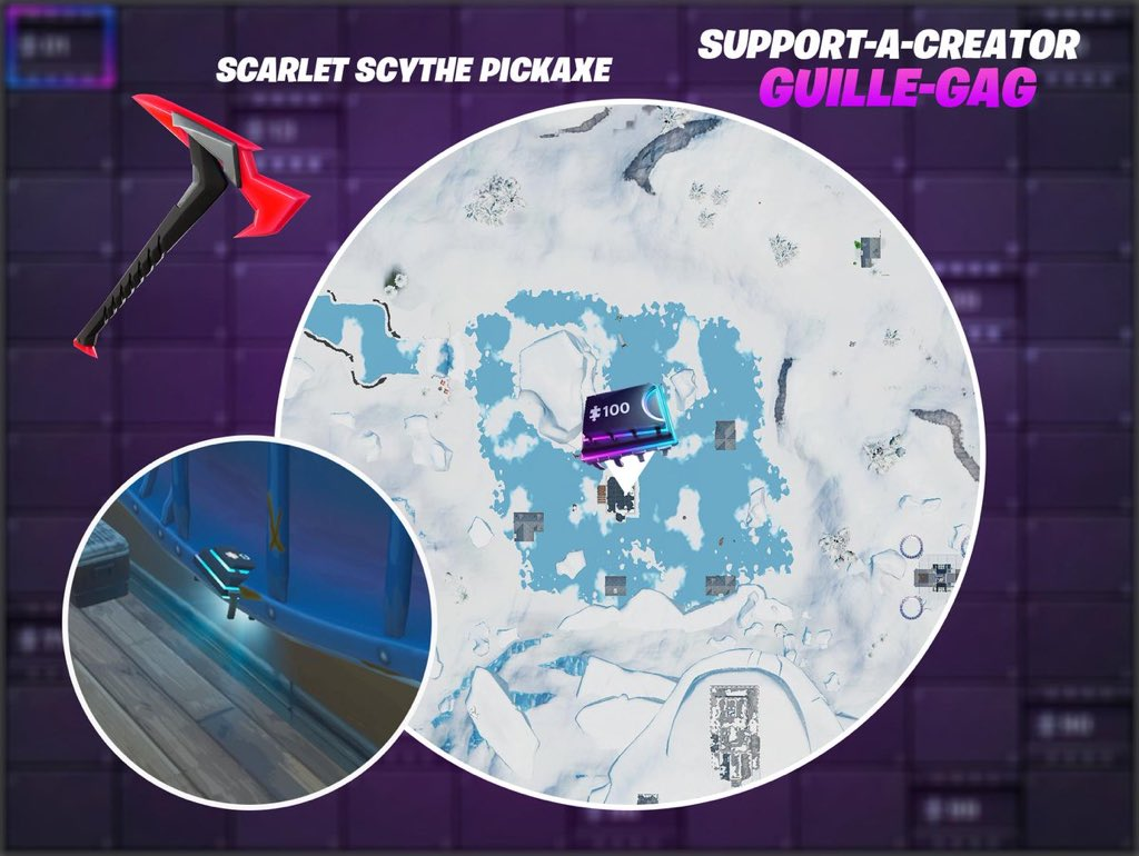 Fortbyte 94 Location Accessible by using the Scarlet Scythe Pickaxe to smash a blue canoe under a frozen lake