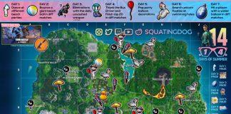 Fortnite 14 Days of Summer Challenge Cheat Sheet Map