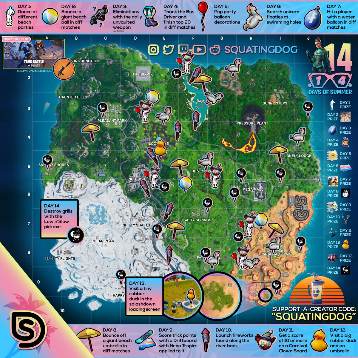 Fortnite 14 Days of Summer Challenge Cheat Sheet Map