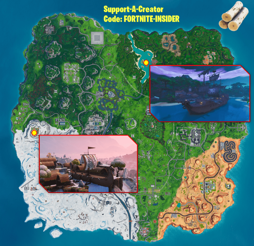 Fortnite Challenge - How and Where to Collect Wood from a Pirate Ship or Viking Ship Map Location