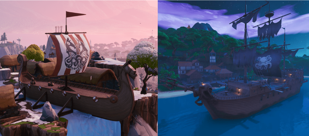 Fortnite Challenge - How and Where to Collect Wood from a Pirate Ship or Viking Ship
