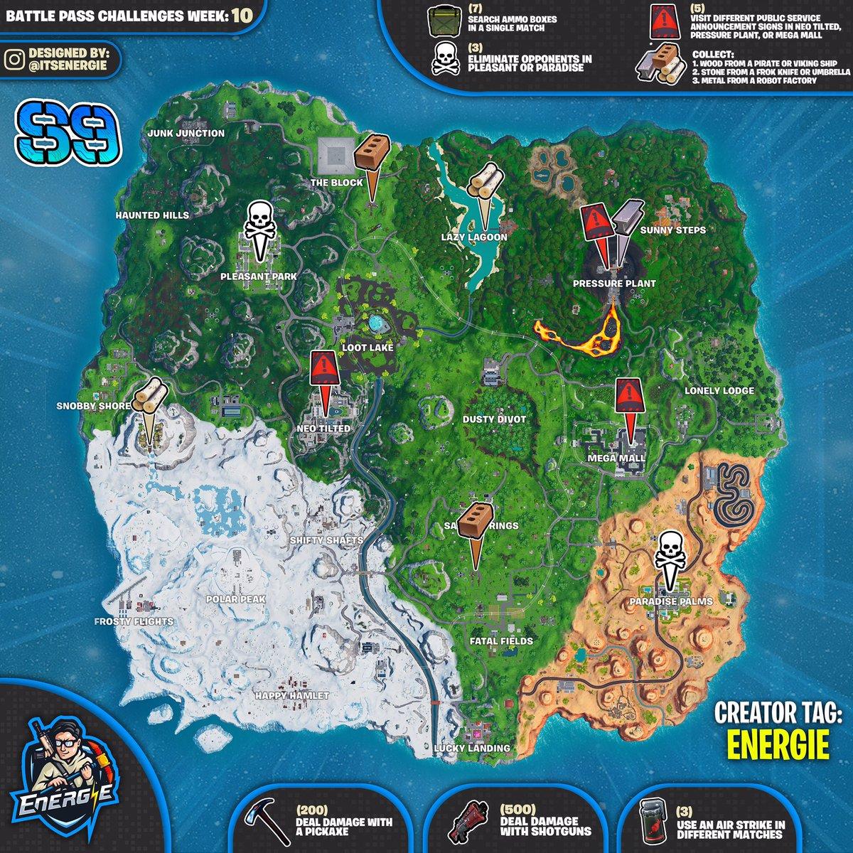 Fortnite Season 9 Week 10 Cheat Sheet Map Challenge Locations
